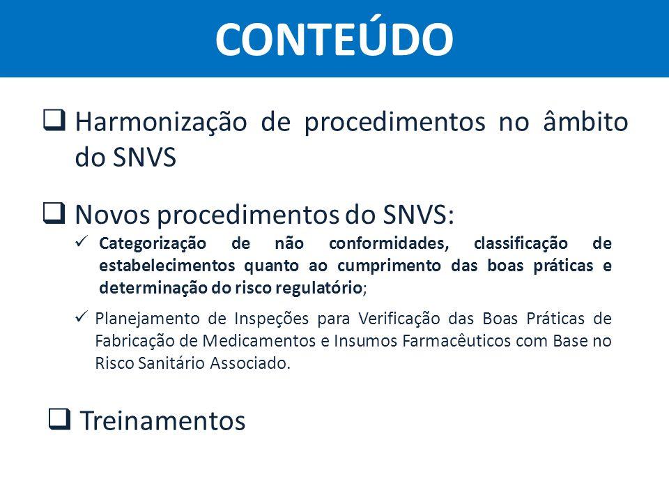 Agência Nacional de Vigilância Sanitária Anvisa  Harmonização de procedimentos no âmbito do SNVS CONTEÚDO  Novos procedimentos do SNVS: Categorizaçã