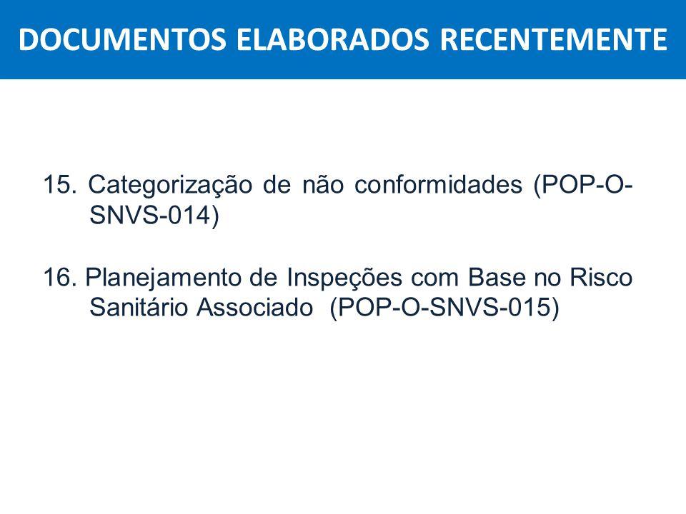 Agência Nacional de Vigilância Sanitária Anvisa 15. Categorização de não conformidades (POP-O- SNVS-014) 16. Planejamento de Inspeções com Base no Ris