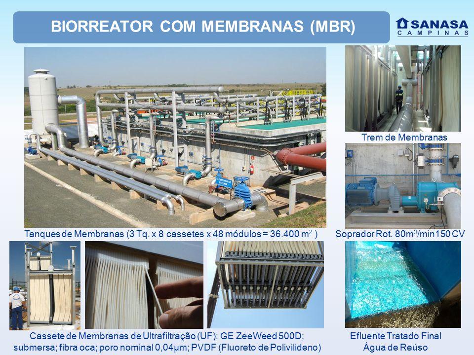 BIORREATOR COM MEMBRANAS (MBR) Cassete de Membranas de Ultrafiltração (UF): GE ZeeWeed 500D; submersa; fibra oca; poro nominal 0,04µm; PVDF (Fluoreto de Polivilideno) Soprador Rot.