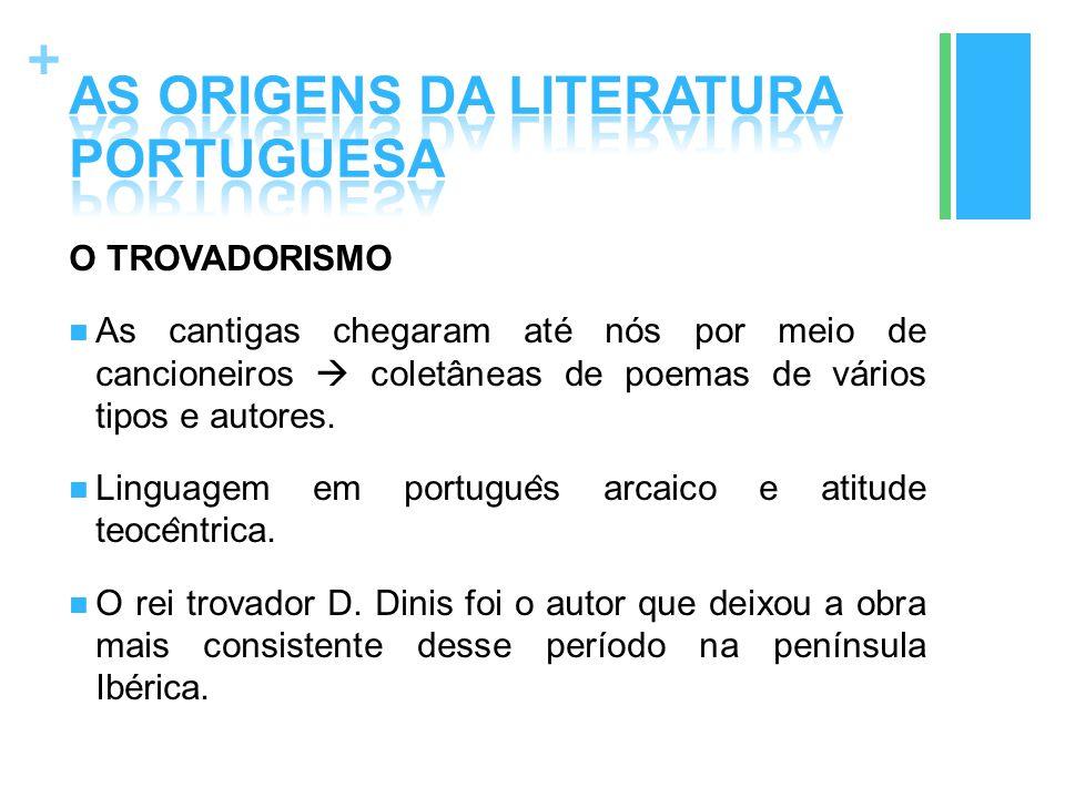 + O TROVADORISMO As cantigas chegaram até nós por meio de cancioneiros  coletâneas de poemas de vários tipos e autores. Linguagem em portugue ̂ s arc