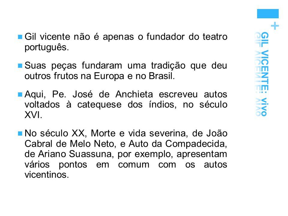 + Gil vicente não é apenas o fundador do teatro português. Suas peças fundaram uma tradição que deu outros frutos na Europa e no Brasil. Aqui, Pe. Jos