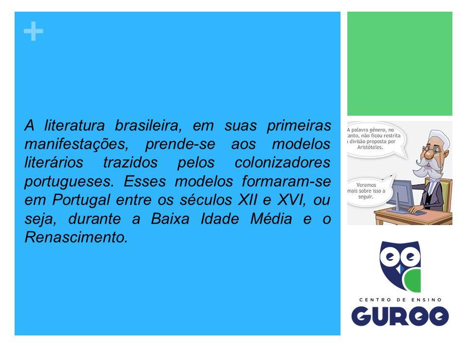 + A literatura brasileira, em suas primeiras manifestações, prende-se aos modelos literários trazidos pelos colonizadores portugueses. Esses modelos f