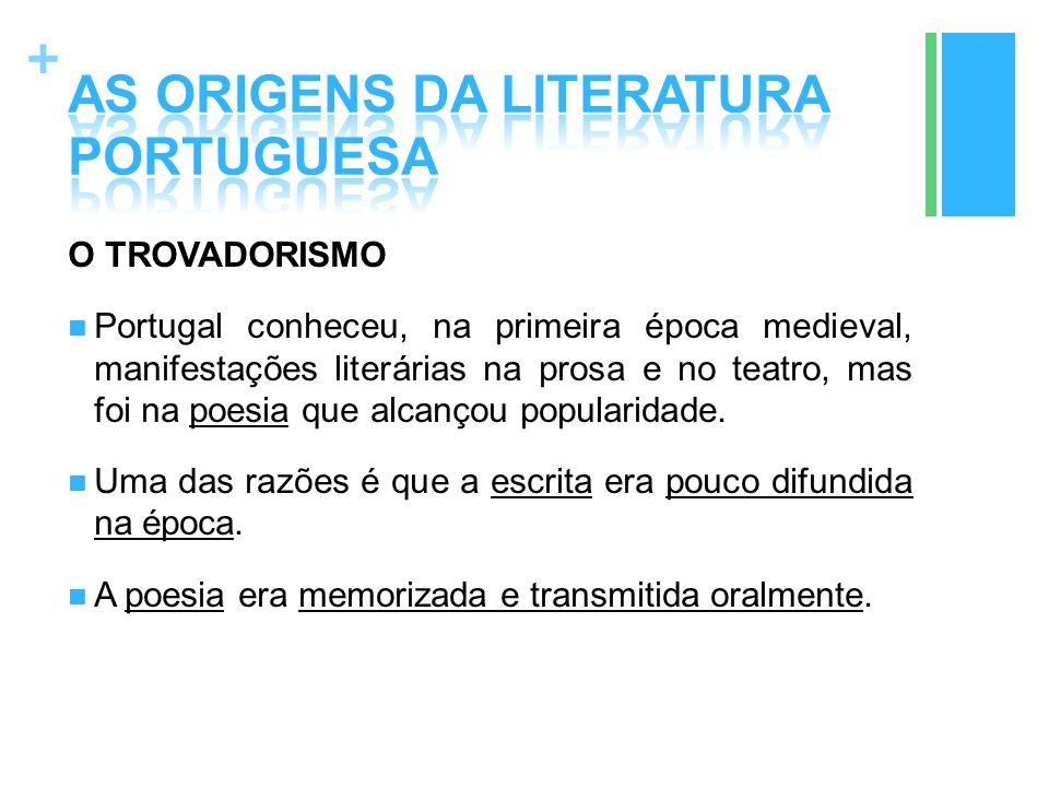 + O TROVADORISMO Portugal conheceu, na primeira época medieval, manifestações literárias na prosa e no teatro, mas foi na poesia que alcançou populari