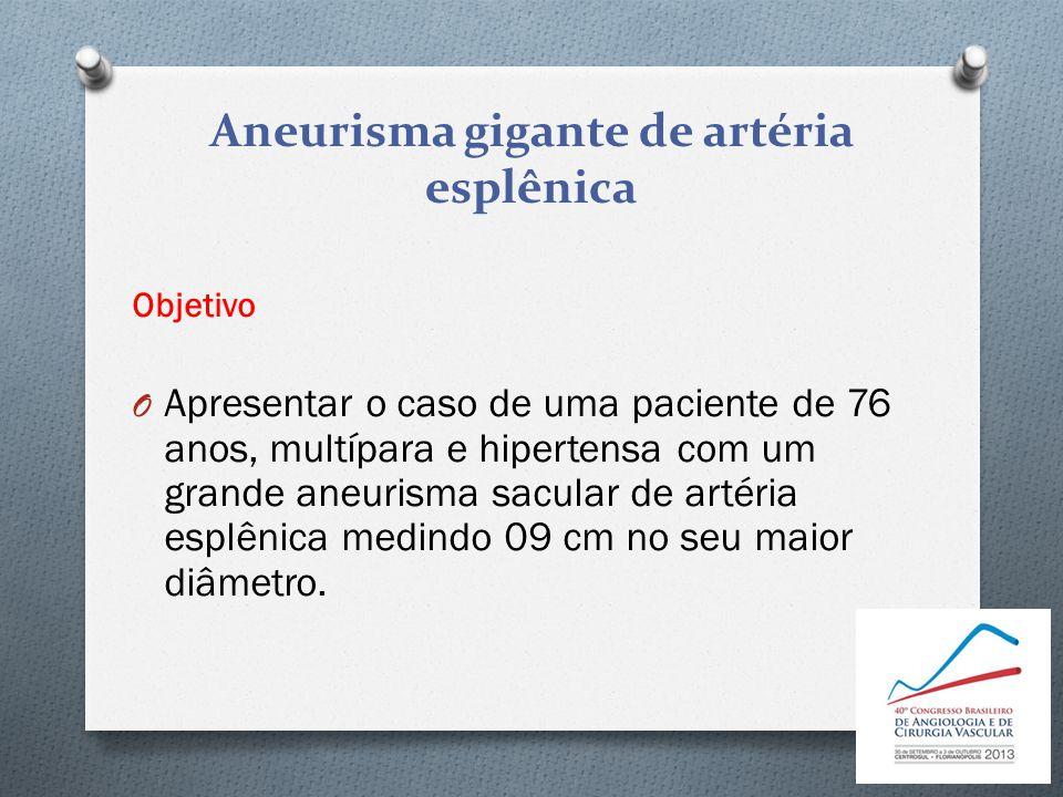 Aneurisma gigante de artéria esplênica Objetivo O Apresentar o caso de uma paciente de 76 anos, multípara e hipertensa com um grande aneurisma sacular