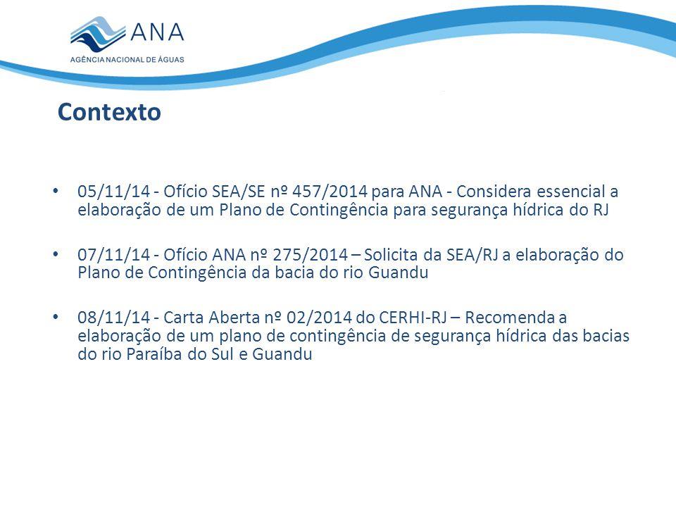 05/11/14 - Ofício SEA/SE nº 457/2014 para ANA - Considera essencial a elaboração de um Plano de Contingência para segurança hídrica do RJ 07/11/14 - O