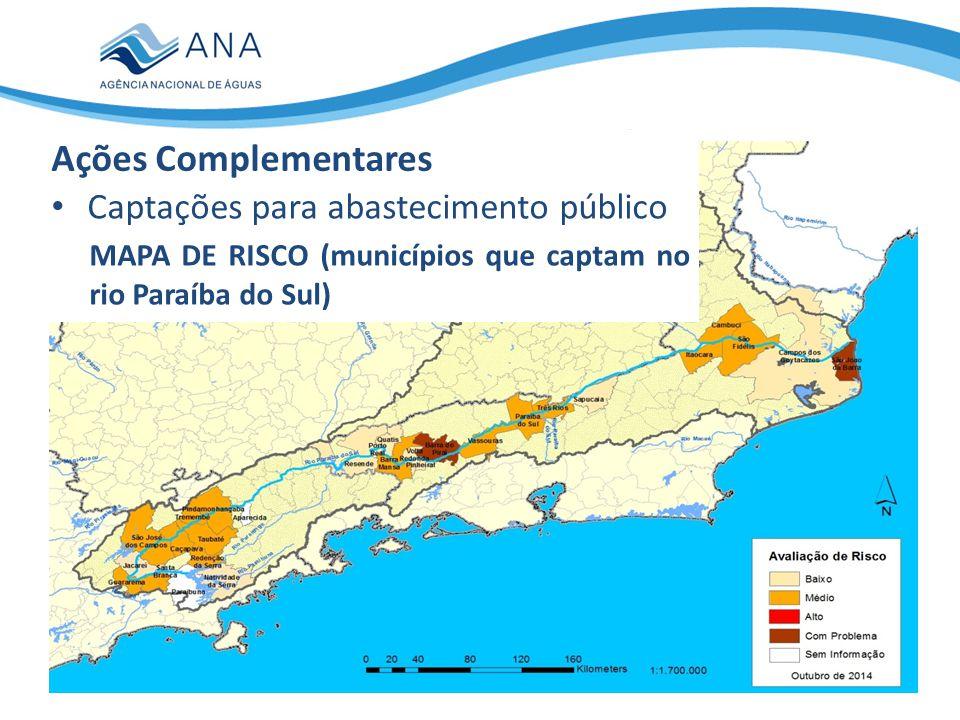 Captações para abastecimento público CLASSIFICAÇÃO DE RISCO (municípios que captam no rio Paraíba do Sul) Ações Complementares MunicípiosPopulação TOTAL282.227.872 UF RJ161.169.671 SP121.058.201 Com problema296.033 Risco Alto00 Médio151.171.832 Baixo9920.378 Sem informação239.629