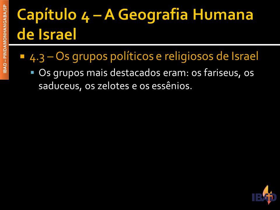 IBAD – PINDAMONHANGABA/SP  4.3 – Os grupos políticos e religiosos de Israel  Os grupos mais destacados eram: os fariseus, os saduceus, os zelotes e os essênios.