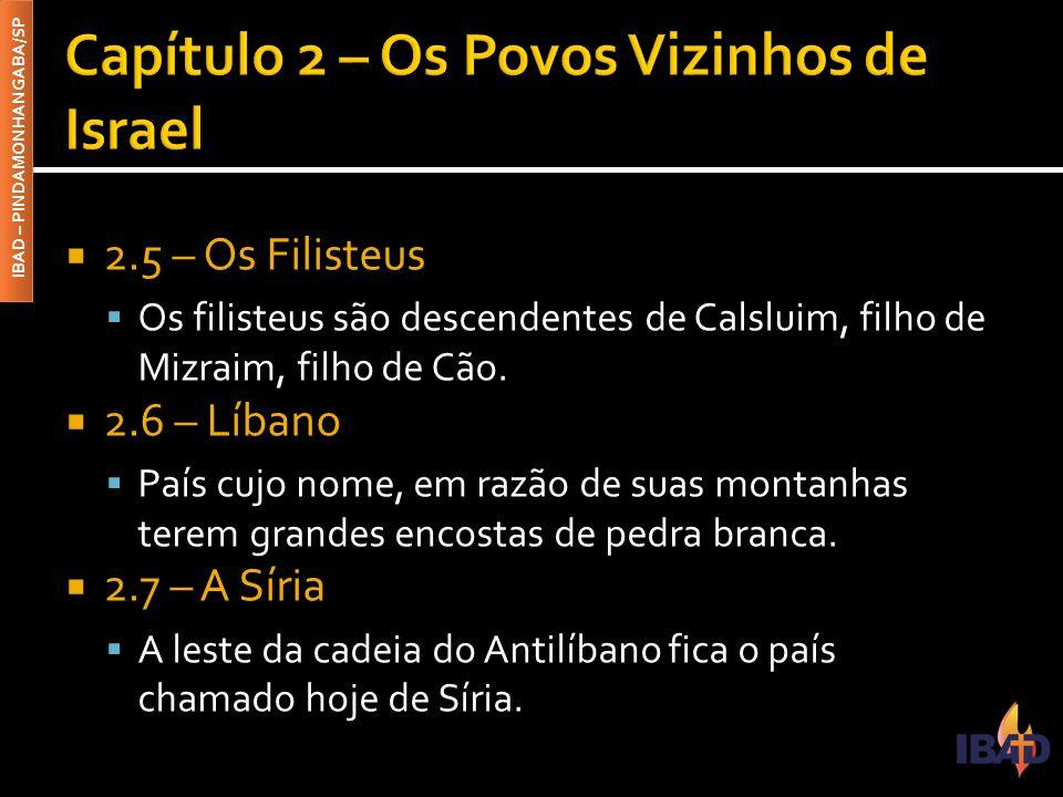IBAD – PINDAMONHANGABA/SP  2.5 – Os Filisteus  Os filisteus são descendentes de Calsluim, filho de Mizraim, filho de Cão.