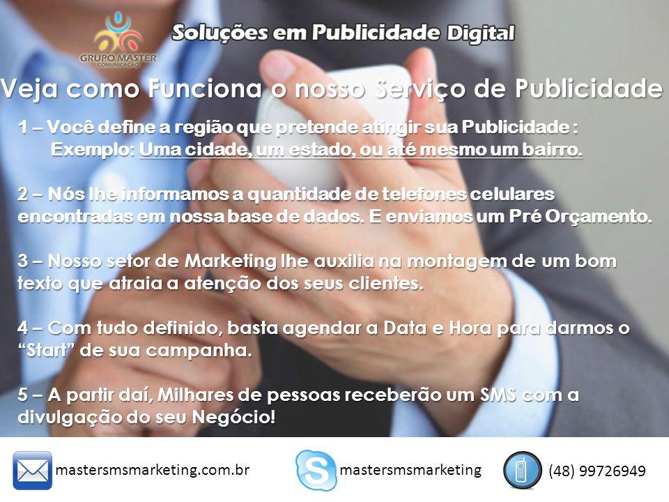VANTAGENS DO SMS MARKETING 1 – BAIXO CUSTO: Temos pacotes a partir de R$ 150,00 2 – ALCANCE : SMS é uma publicidade sem fronteiras, você pode escolher em qual região atuar, sem custos extras.