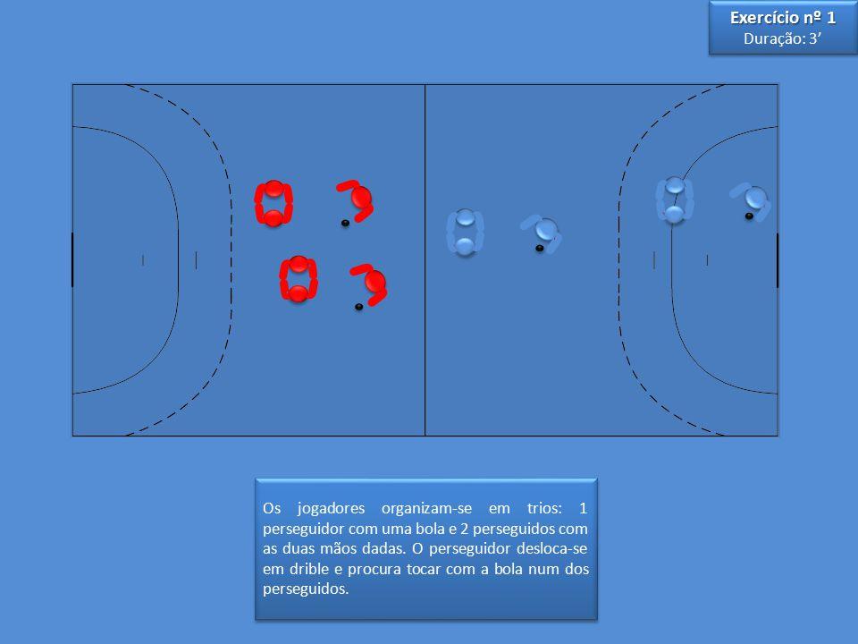 Os jogadores organizam-se em trios: 1 perseguidor com uma bola e 2 perseguidos com as duas mãos dadas.