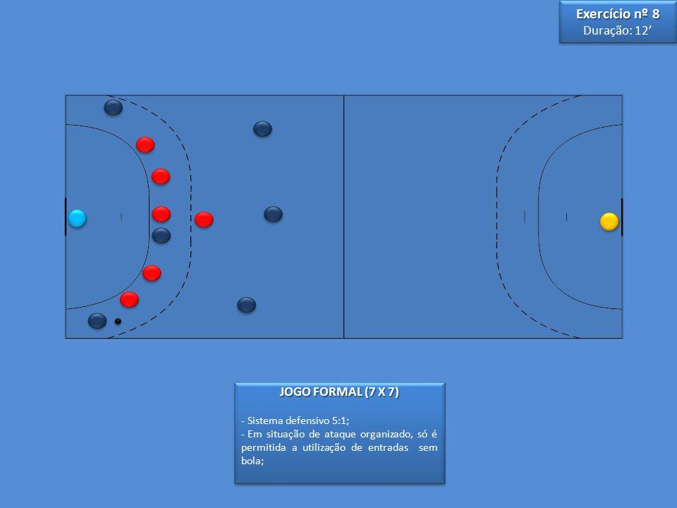 JOGO FORMAL (7 X 7) - Sistema defensivo 5:1; - Em situação de ataque organizado, só é permitida a utilização de entradas sem bola; JOGO FORMAL (7 X 7) - Sistema defensivo 5:1; - Em situação de ataque organizado, só é permitida a utilização de entradas sem bola; Exercício nº 8 Duração: 12' Exercício nº 8 Duração: 12'