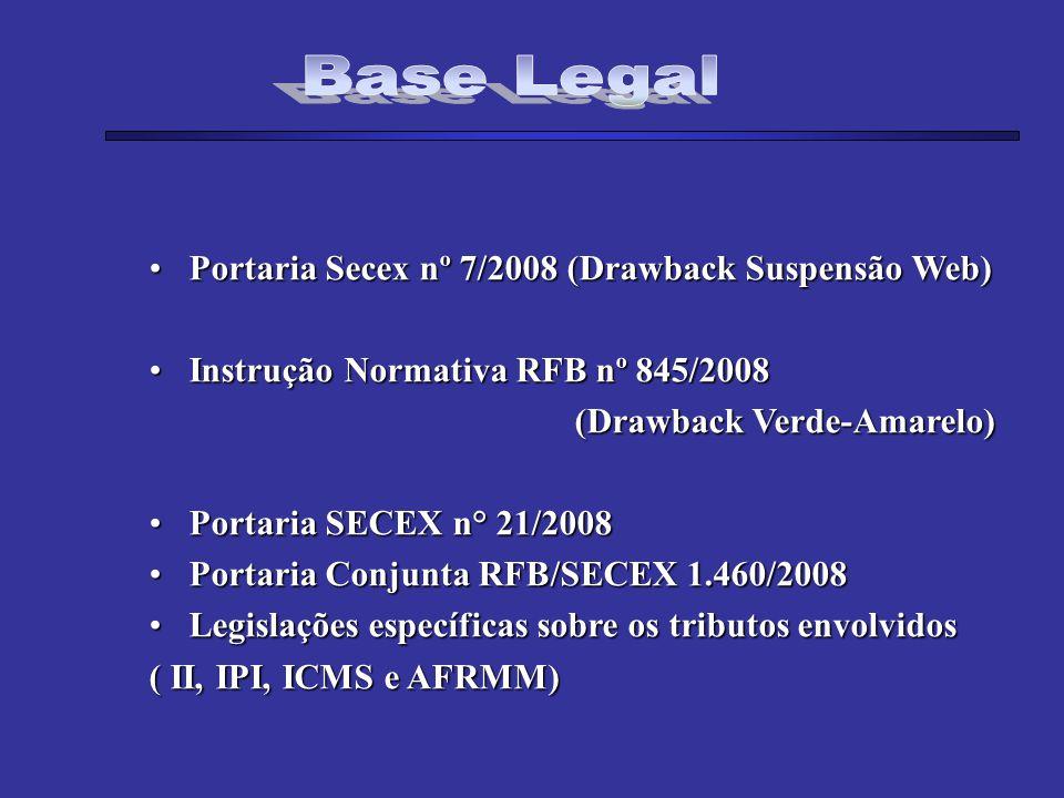 Portaria Secex nº 7/2008 (Drawback Suspensão Web)Portaria Secex nº 7/2008 (Drawback Suspensão Web) Instrução Normativa RFB nº 845/2008Instrução Normat