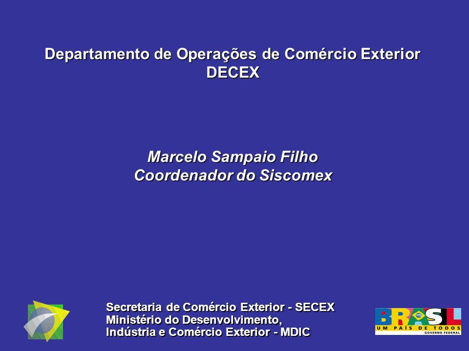 Departamento de Operações de Comércio Exterior DECEX Marcelo Sampaio Filho Coordenador do Siscomex Secretaria de Comércio Exterior - SECEX Ministério