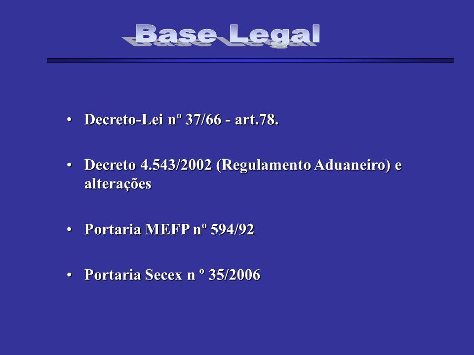 Decreto-Lei nº 37/66 - art.78.Decreto-Lei nº 37/66 - art.78. Decreto 4.543/2002 (Regulamento Aduaneiro) e alteraçõesDecreto 4.543/2002 (Regulamento Ad