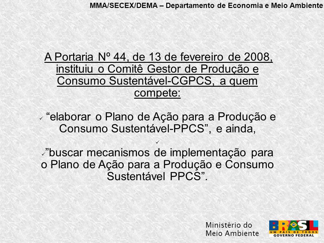 MMA/SECEX/DEMA – Departamento de Economia e Meio Ambiente Ministério do Meio Ambiente A Portaria Nº 44, de 13 de fevereiro de 2008, instituiu o Comitê Gestor de Produção e Consumo Sustentável-CGPCS, a quem compete: elaborar o Plano de Ação para a Produção e Consumo Sustentável-PPCS , e ainda, buscar mecanismos de implementação para o Plano de Ação para a Produção e Consumo Sustentável PPCS .