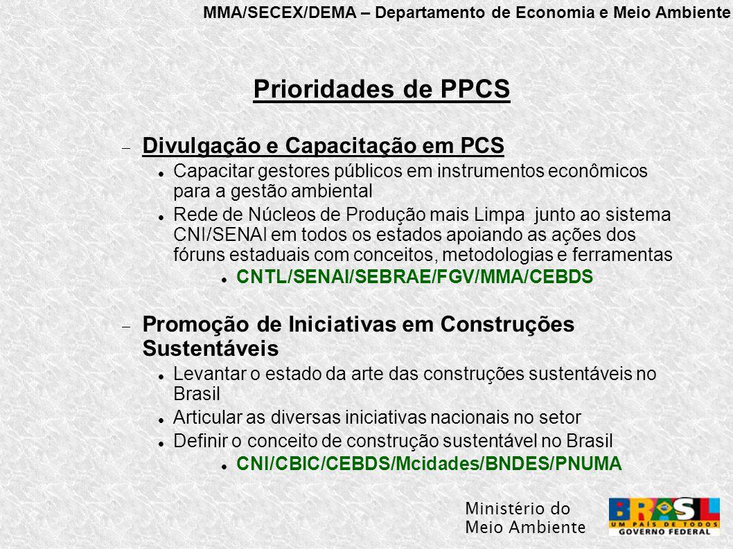 MMA/SECEX/DEMA – Departamento de Economia e Meio Ambiente Ministério do Meio Ambiente Prioridades de PPCS  Divulgação e Capacitação em PCS Capacitar gestores públicos em instrumentos econômicos para a gestão ambiental Rede de Núcleos de Produção mais Limpa junto ao sistema CNI/SENAI em todos os estados apoiando as ações dos fóruns estaduais com conceitos, metodologias e ferramentas CNTL/SENAI/SEBRAE/FGV/MMA/CEBDS  Promoção de Iniciativas em Construções Sustentáveis Levantar o estado da arte das construções sustentáveis no Brasil Articular as diversas iniciativas nacionais no setor Definir o conceito de construção sustentável no Brasil CNI/CBIC/CEBDS/Mcidades/BNDES/PNUMA