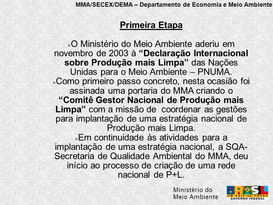 MMA/SECEX/DEMA – Departamento de Economia e Meio Ambiente Ministério do Meio Ambiente Primeira Etapa  O Ministério do Meio Ambiente aderiu em novembro de 2003 à Declaração Internacional sobre Produção mais Limpa das Nações Unidas para o Meio Ambiente – PNUMA.