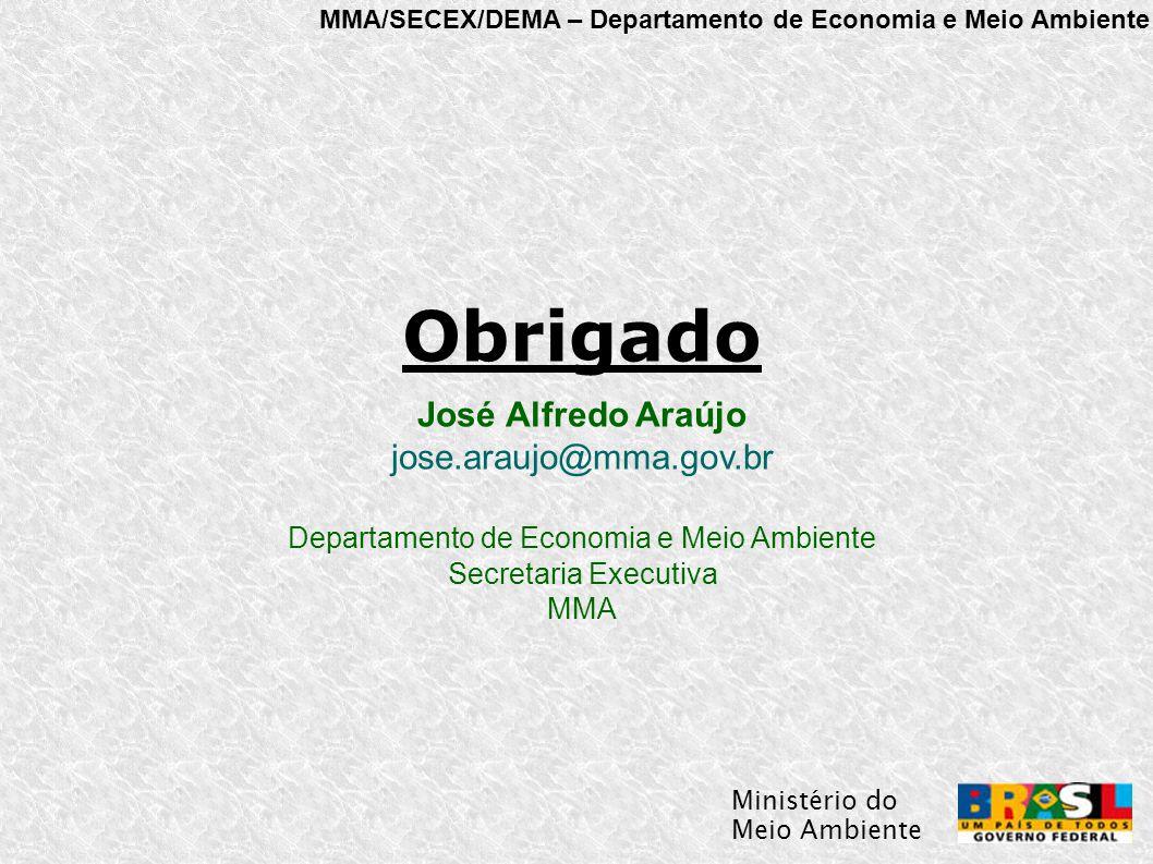 MMA/SECEX/DEMA – Departamento de Economia e Meio Ambiente Ministério do Meio Ambiente Obrigado José Alfredo Araújo jose.araujo@mma.gov.br Departamento de Economia e Meio Ambiente Secretaria Executiva MMA