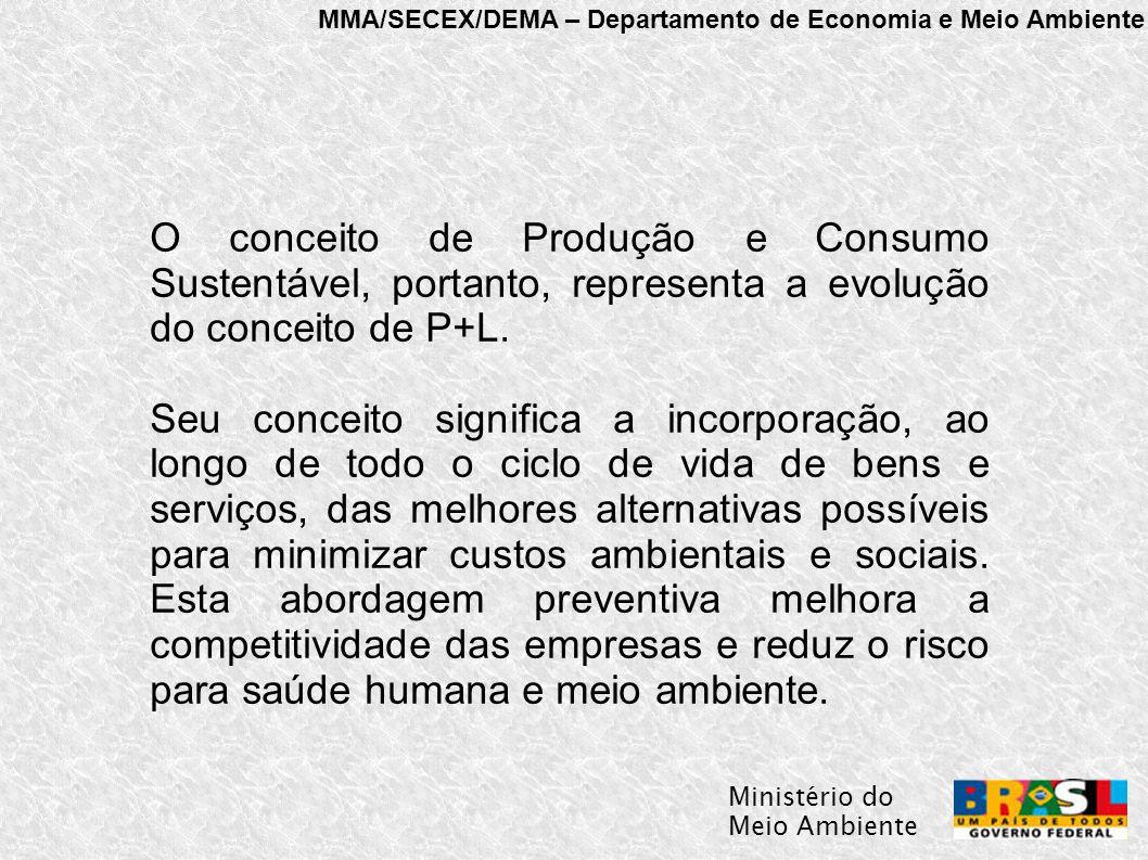 MMA/SECEX/DEMA – Departamento de Economia e Meio Ambiente Ministério do Meio Ambiente O conceito de Produção e Consumo Sustentável, portanto, representa a evolução do conceito de P+L.
