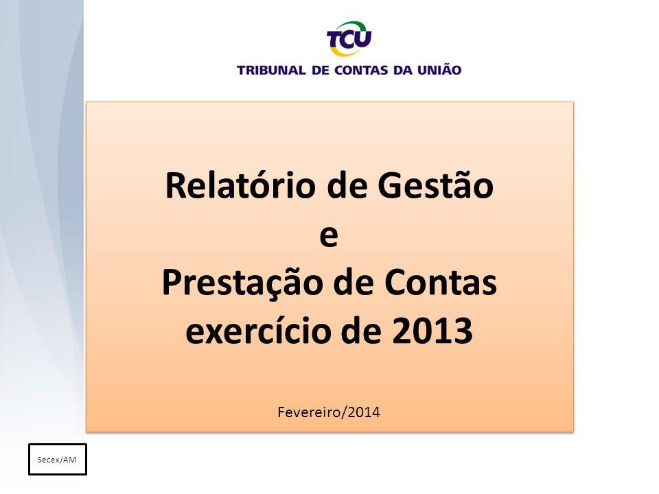 Relatório de Gestão e Prestação de Contas exercício de 2013 Fevereiro/2014 Relatório de Gestão e Prestação de Contas exercício de 2013 Fevereiro/2014 Secex/AM