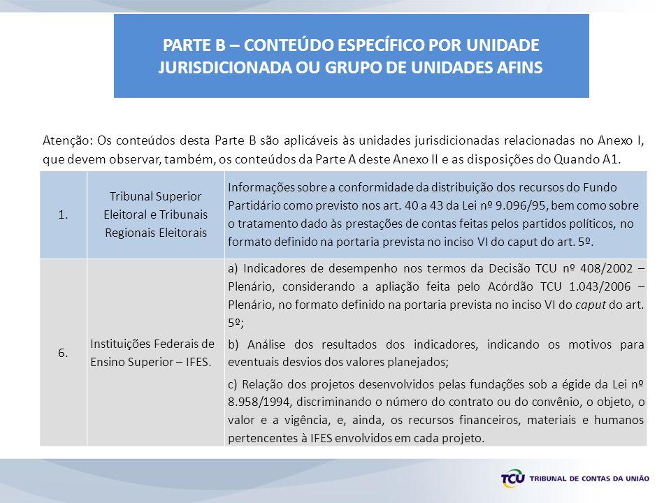 PARTE B – CONTEÚDO ESPECÍFICO POR UNIDADE JURIS DICIONADA OU GRUPO DE UNIDADES AFINS 44.
