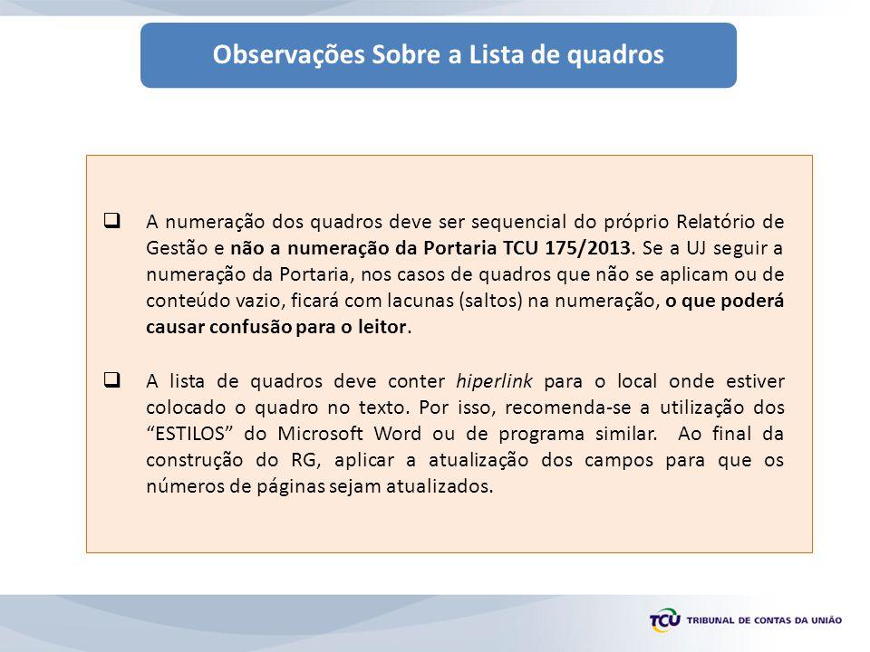 Observações Sobre a Lista de quadros  A numeração dos quadros deve ser sequencial do próprio Relatório de Gestão e não a numeração da Portaria TCU 175/2013.