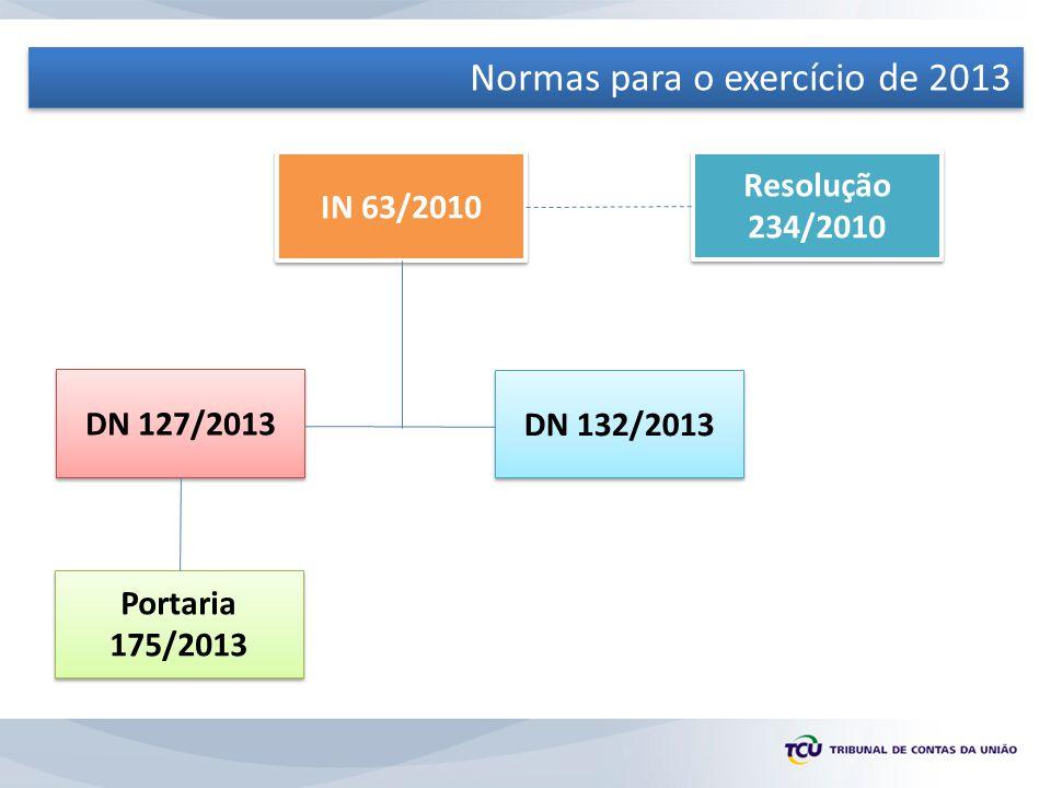 Normas para o exercício de 2013 IN 63/2010 Resolução 234/2010 DN 132/2013 DN 127/2013 Portaria 175/2013