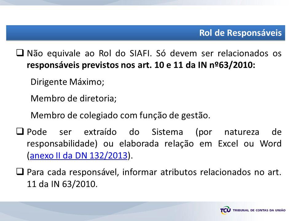  Não equivale ao Rol do SIAFI.Só devem ser relacionados os responsáveis previstos nos art.