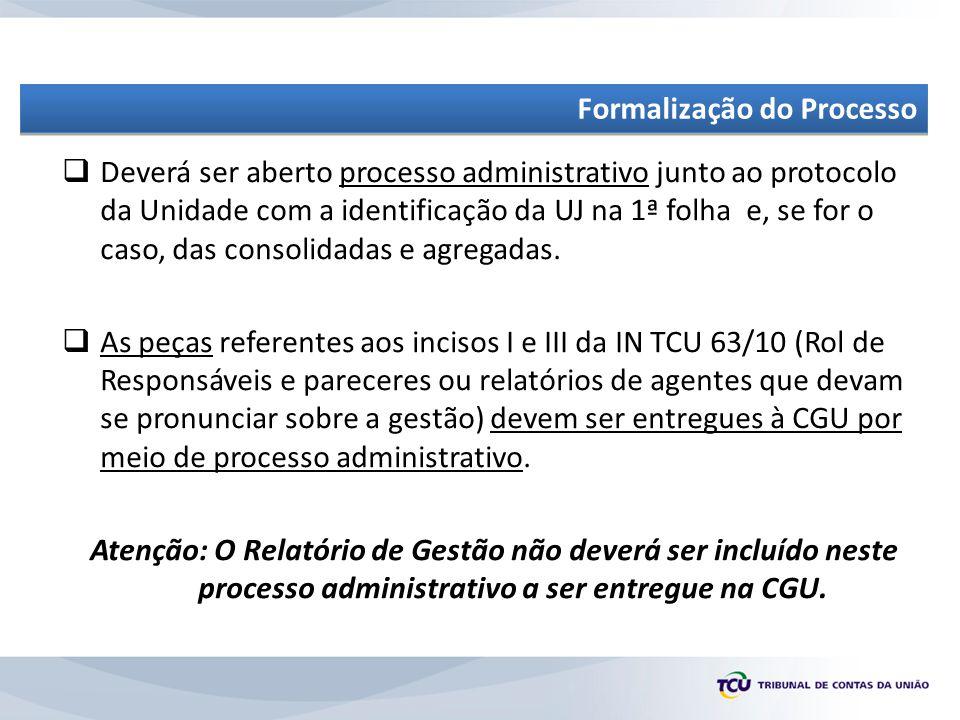  Deverá ser aberto processo administrativo junto ao protocolo da Unidade com a identificação da UJ na 1ª folha e, se for o caso, das consolidadas e agregadas.