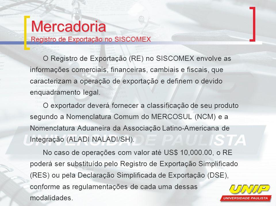 Mercadoria Registro de Exportação no SISCOMEX O Registro de Exportação (RE) no SISCOMEX envolve as informações comerciais, financeiras, cambiais e fis