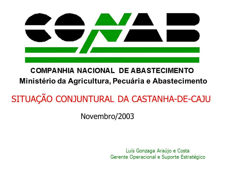 Ministério da Agricultura, Pecuária e Abastecimento SITUAÇÃO CONJUNTURAL DA CASTANHA-DE-CAJU Novembro/2003 Luís Gonzaga Araújo e Costa Gerente Operaci