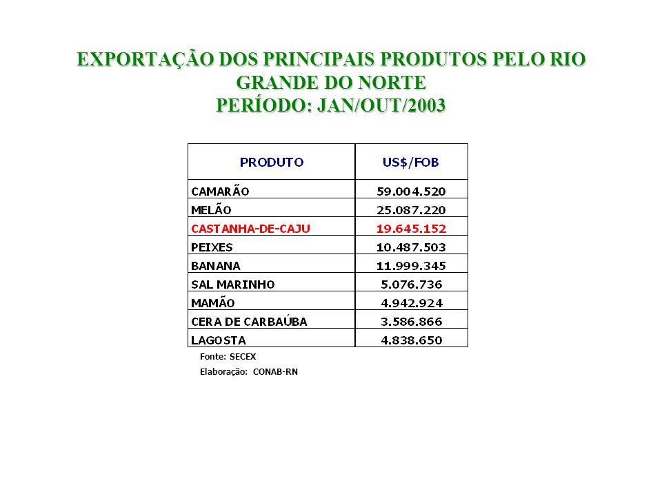 EXPORTAÇÃO DOS PRINCIPAIS PRODUTOS PELO RIO GRANDE DO NORTE PERÍODO: JAN/OUT/2003 Fonte: SECEX Elaboração: CONAB-RN