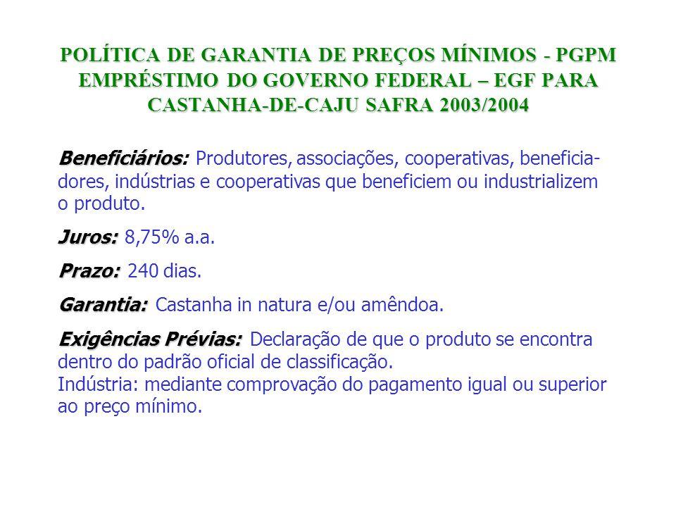 POLÍTICA DE GARANTIA DE PREÇOS MÍNIMOS - PGPM EMPRÉSTIMO DO GOVERNO FEDERAL – EGF PARA CASTANHA-DE-CAJU SAFRA 2003/2004 Beneficiários Juros: Prazo: Ga