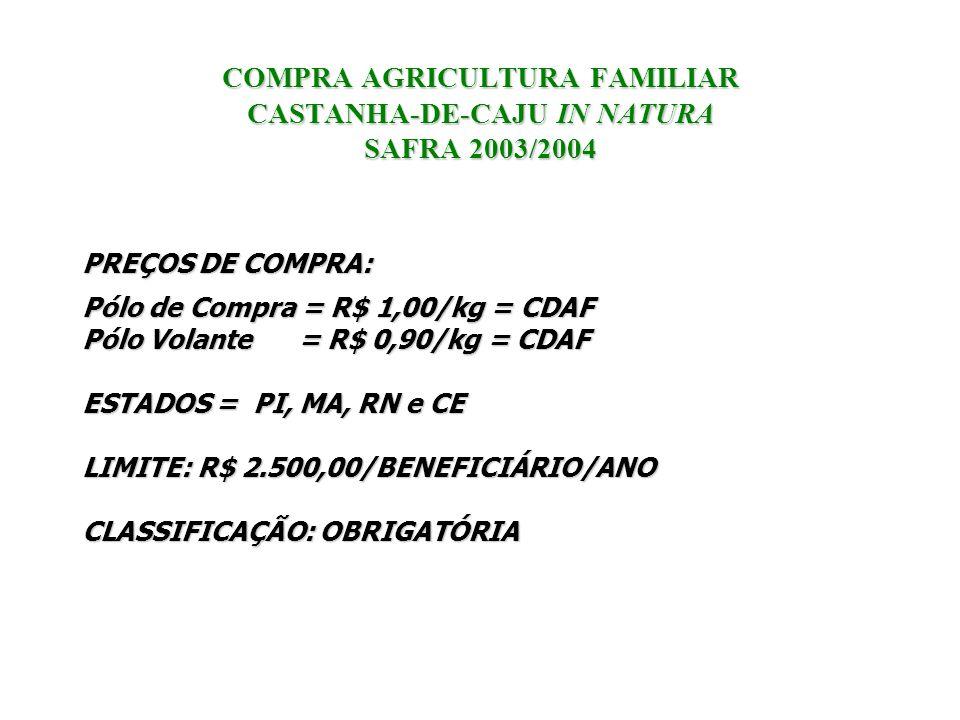 COMPRA AGRICULTURA FAMILIAR CASTANHA-DE-CAJU IN NATURA SAFRA 2003/2004 PREÇOS DE COMPRA: Pólo de Compra = R$ 1,00/kg = CDAF Pólo Volante = R$ 0,90/kg
