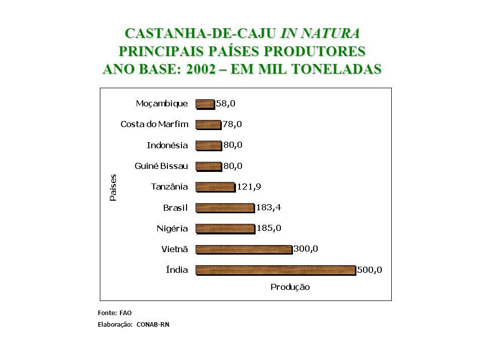 CASTANHA-DE-CAJU IN NATURA PRINCIPAIS PAÍSES PRODUTORES ANO BASE: 2002 – EM MIL TONELADAS Fonte: FAO Elaboração: CONAB-RN
