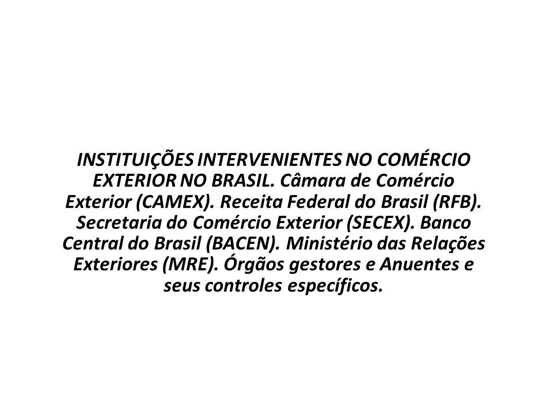 COMÉRCIO INTERNACIONAL Prof. Uziel Santana INSTITUIÇÕES INTERVENIENTES NO COMÉRCIO EXTERIOR NO BRASIL. Câmara de Comércio Exterior (CAMEX). Receita Fe