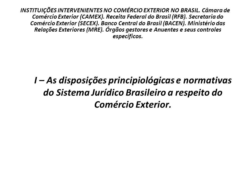 I – As disposições principiológicas e normativas do Sistema Jurídico Brasileiro a respeito do Comércio Exterior.