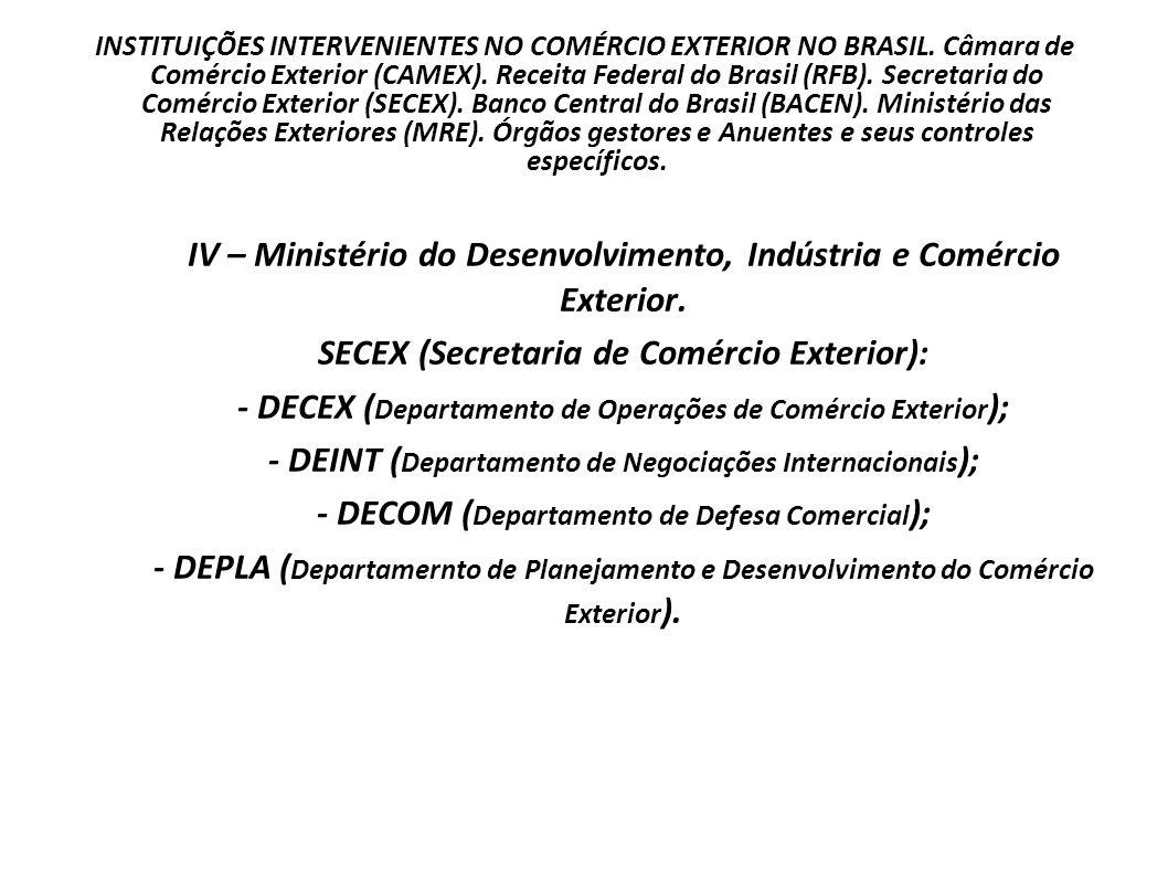 INSTITUIÇÕES INTERVENIENTES NO COMÉRCIO EXTERIOR NO BRASIL. Câmara de Comércio Exterior (CAMEX). Receita Federal do Brasil (RFB). Secretaria do Comérc