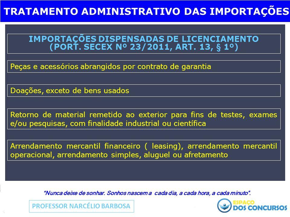 IMPORTAÇÕES DISPENSADAS DE LICENCIAMENTO (PORT. SECEX Nº 23/2011, ART.