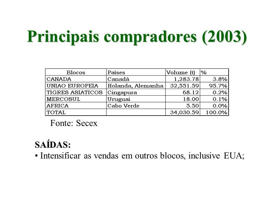 Principais compradores (2003) Fonte: Secex SAÍDAS: Intensificar as vendas em outros blocos, inclusive EUA;