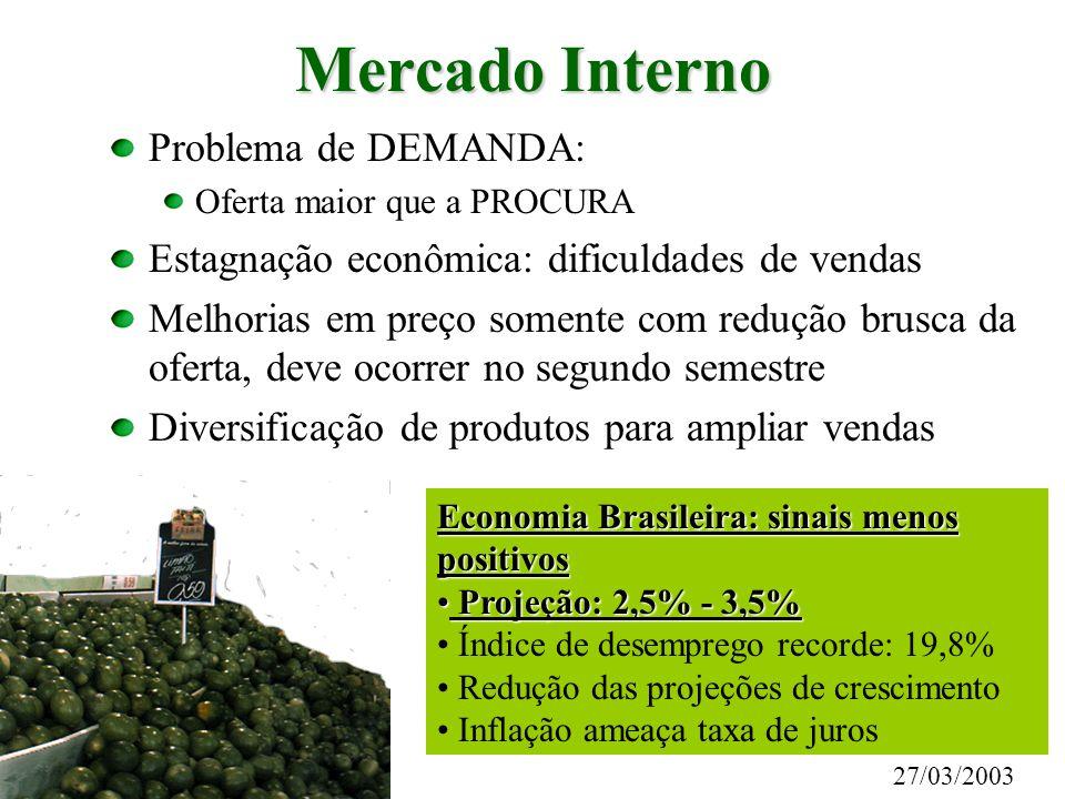 Mercado Interno Problema de DEMANDA: Oferta maior que a PROCURA Estagnação econômica: dificuldades de vendas Melhorias em preço somente com redução br