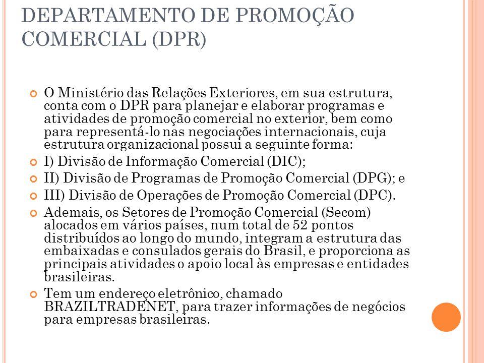 DEPARTAMENTO DE PROMOÇÃO COMERCIAL (DPR) O Ministério das Relações Exteriores, em sua estrutura, conta com o DPR para planejar e elaborar programas e atividades de promoção comercial no exterior, bem como para representá-lo nas negociações internacionais, cuja estrutura organizacional possui a seguinte forma: I) Divisão de Informação Comercial (DIC); II) Divisão de Programas de Promoção Comercial (DPG); e III) Divisão de Operações de Promoção Comercial (DPC).