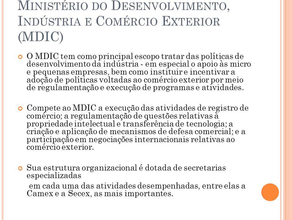CÂMARA DE COMÉRCIO EXTERIOR (CAMEX) A CAMEX possui como principal atribuição a formulação, implementação e a coordenação de políticas e atividades relacionadas ao comércio exterior de bens e serviços, incluindo o turismo, que vise a inserção competitiva do Brasil na economia internacional.