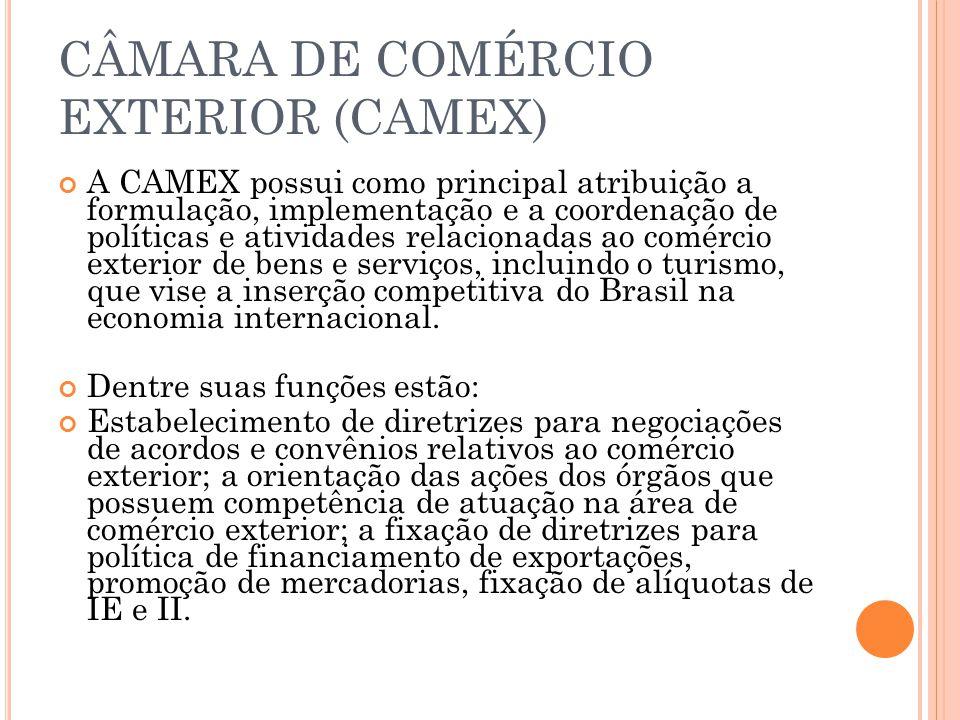 Atualmente, a Camex é composta por um Conselho de Ministros, através de um órgão de deliberação superior presidido pelo Ministro do Desenvolvimento, Indústria e Comércio Exterior, do qual também fazem parte os Ministros das Relações Exteriores, da Fazenda, da Agricultura, da Pecuária e Abastecimento,do Planejamento,Orçamento e Gestão, o Chefe da Casa Civil da Presidência da República.