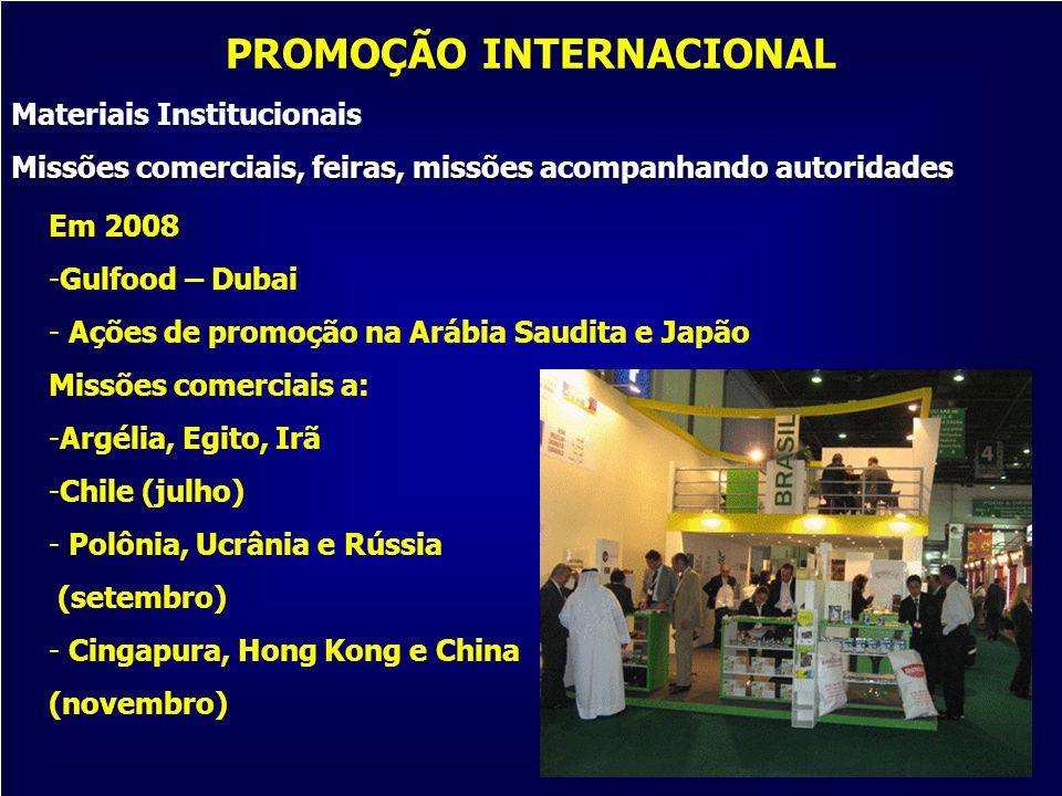 21 Em 2008 -Gulfood – Dubai - Ações de promoção na Arábia Saudita e Japão Missões comerciais a: -Argélia, Egito, Irã -Chile (julho) - Polônia, Ucrânia
