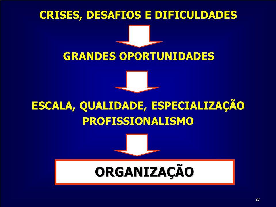 23 ESCALA, QUALIDADE, ESPECIALIZAÇÃO PROFISSIONALISMO CRISES, DESAFIOS E DIFICULDADES GRANDES OPORTUNIDADES ORGANIZAÇÃO