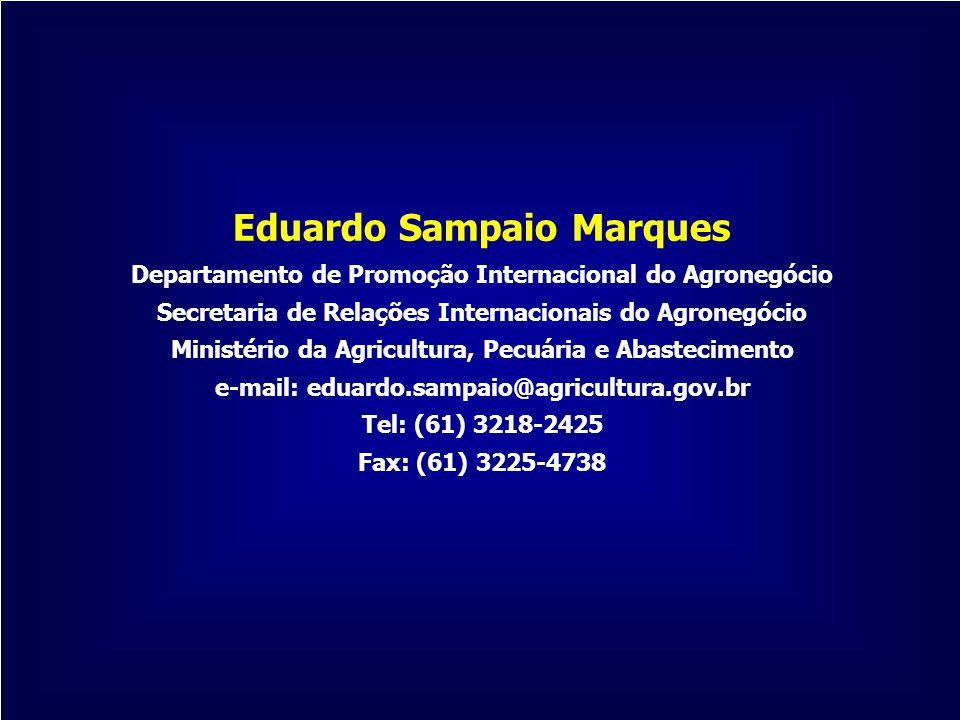 Eduardo Sampaio Marques Departamento de Promoção Internacional do Agronegócio Secretaria de Relações Internacionais do Agronegócio Ministério da Agric