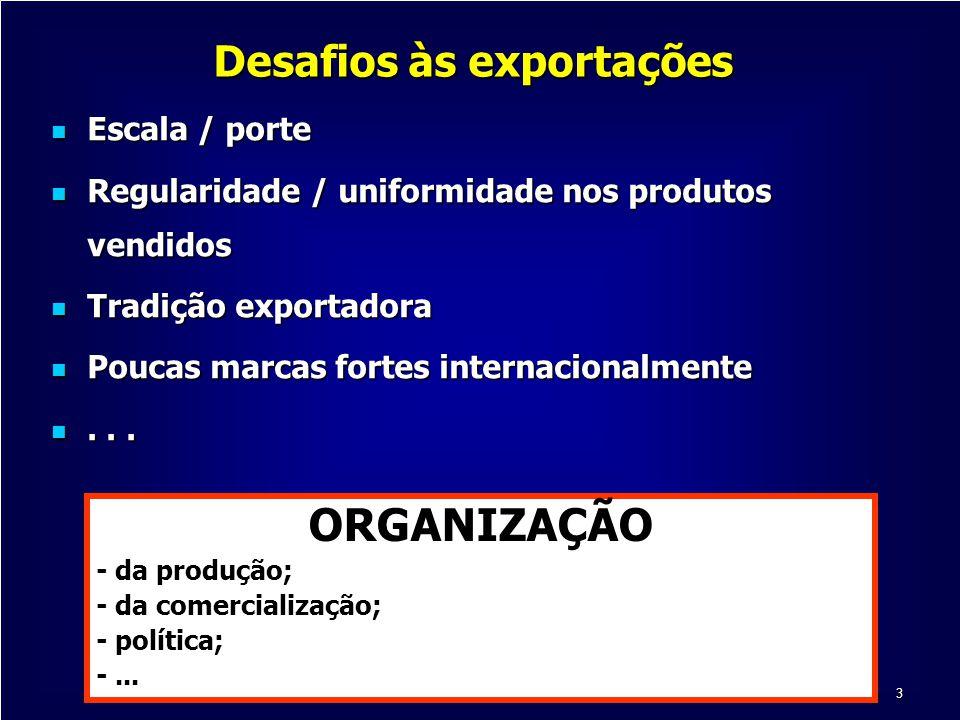 3 Desafios às exportações Escala / porte Escala / porte Regularidade / uniformidade nos produtos vendidos Regularidade / uniformidade nos produtos ven