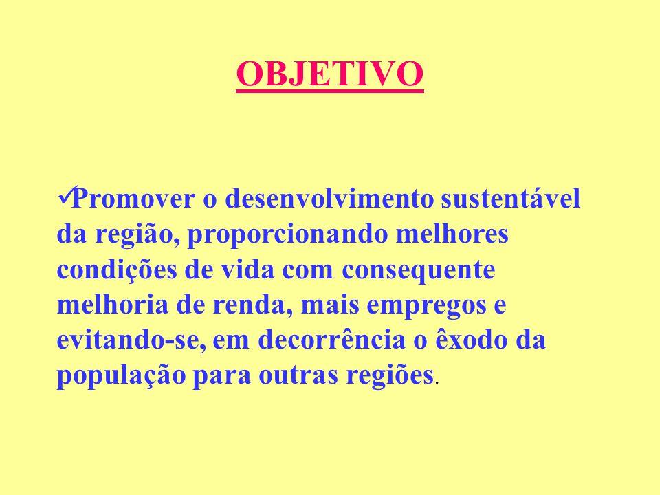 OBJETIVO Promover o desenvolvimento sustentável da região, proporcionando melhores condições de vida com consequente melhoria de renda, mais empregos e evitando-se, em decorrência o êxodo da população para outras regiões.