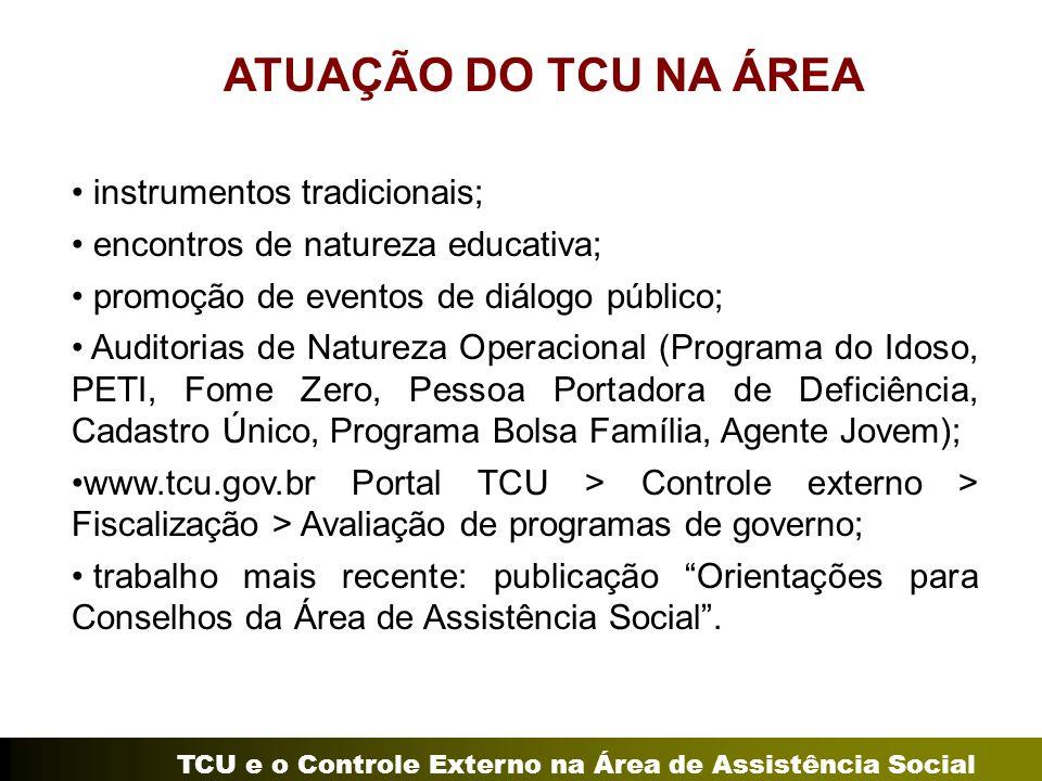 TCU e o Controle Externo na Área de Assistência Social ATUAÇÃO DO TCU NA ÁREA instrumentos tradicionais; encontros de natureza educativa; promoção de